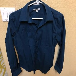 Express 1MX fitted royal blue button down shirt